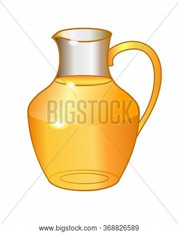 Transparent Glass Jug With Orange Drink - Vector Full Color Picture. Glass Carafe With Juice. Summer