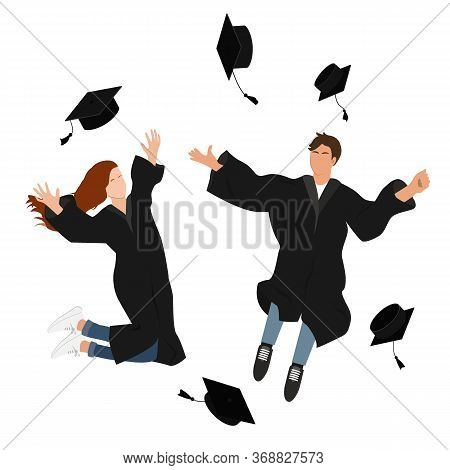 Young Graduate Students Girl And Guy In Graduation Gown Jumping And Throwing The Mortarboard High In