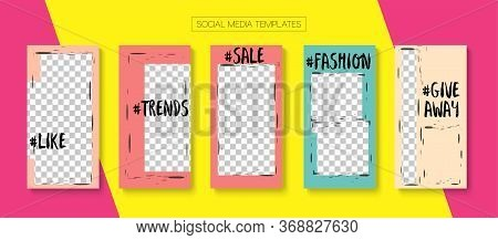 Modern Stories Vector Background. Online Shop Elegant Graphic Brand. Minimal Sale, New Arrivals Stor