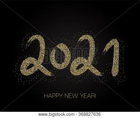 2021 Gold Brushstroke Banner. Painted 2021 Modern Minimal Logo. Happy New Year Elegant Business Back