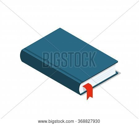 Book Icon Isometric. Flat Closed Textbook For School Or Library. Isolated Handbook For Education Of