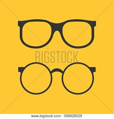 Black Glasses Icon For Eye On Yellow Background. Flat Circle Specs Isolated. Fashion Optical Accesso