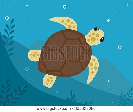 A Tropical Sea Turtle Swims Under The Ocean Near The Bottom With Algae. Vector Flat Illustration Of