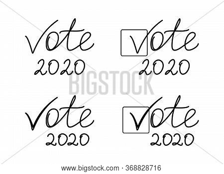 Vote 2020, Vector Icon Election Sign. American Presidential Election 2020. Vote Word With Check Mark