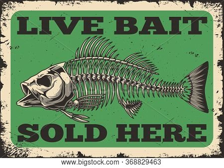Fishing Shop Advertising Vintage Template With Perch Fish Skeleton And Inscriptions Vector Illustrat