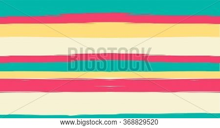 Orange, Brown Nice Seamless Summer Pattern, Vector Watercolor Sailor Stripes. Horizontal Brushstroke