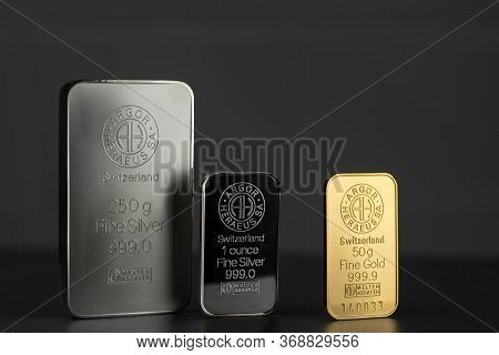 Kyiv, Ukraine - May 28, 2020: Silver And Gold Bars Produced By The Swiss Factory Argor-heraeus - Is