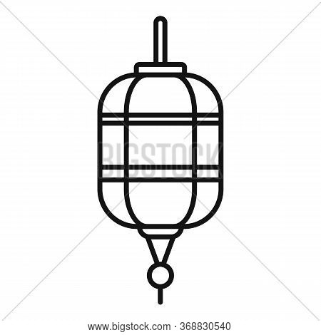 Paper Chinese Lantern Icon. Outline Paper Chinese Lantern Vector Icon For Web Design Isolated On Whi