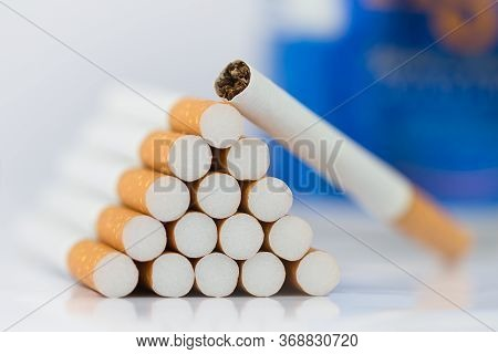 A Lot Of Cigarette Close-up The Cigarette End Or Cigarette End Is Brown And The Tip Is White. Arrang