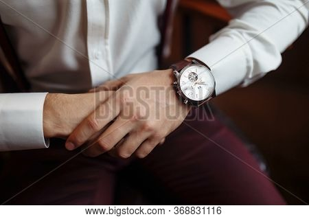Mens Wrist Watch, The Man Is Watching The Time. Businessman Clock, Businessman Checking Time On His