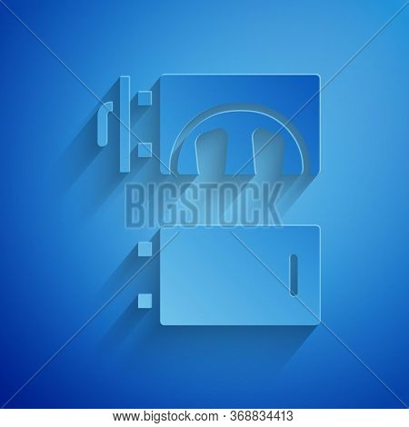 Paper Cut Crematorium Icon Isolated On Blue Background. Paper Art Style. Vector.