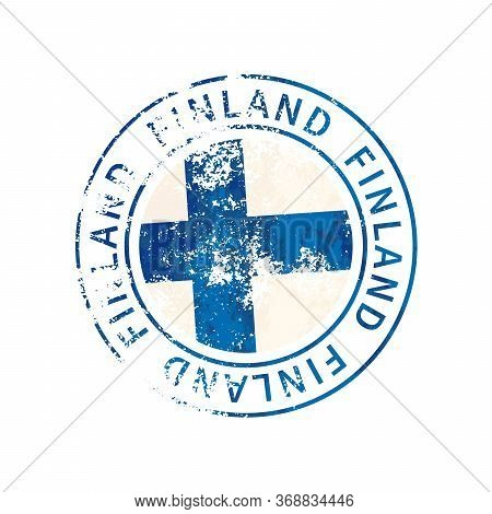 Finland Sign, Vintage Grunge Imprint With Flag On White