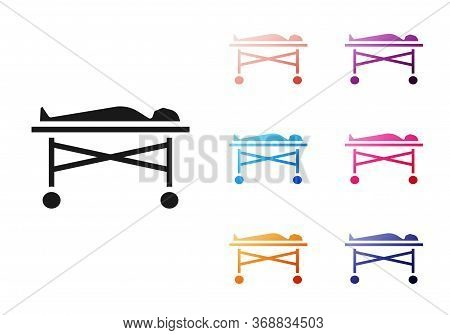 Black Dead Body In The Morgue Icon Isolated On White Background. Set Icons Colorful. Vector.