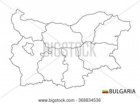 Bulgaria Map, Black And White Detailed Outline Regions Of The Country.