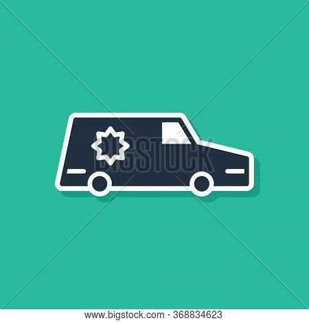 Blue Hearse Car Icon Isolated On Green Background. Vector.