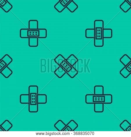 Blue Line Crossed Bandage Plaster Icon Isolated Seamless Pattern On Green Background. Medical Plaste