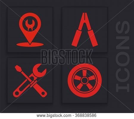 Set Car Wheel, Car Service, Car Battery Jumper Power Cable And Screwdriver And Wrench Tools Icon. Ve