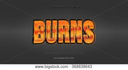 Editable Text Effect - Burn Illustrator Text Style