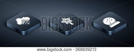 Set Isometric Cloud With Snow, Christmas Snow Globe With Fallen Snow And Christmas Star Icon. Vector