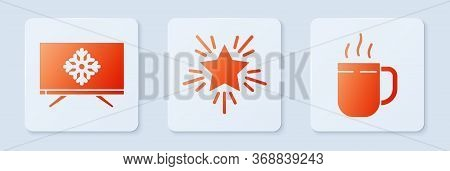 Set Christmas Star, Merry Christmas On Television And Coffee Cup. White Square Button. Vector.