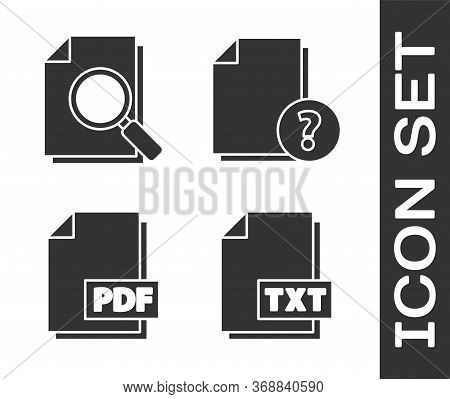 Set Txt File Document, Document With Search, Pdf File Document And Unknown Document Icon. Vector.