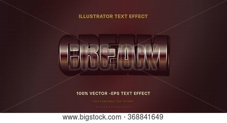 Editable Text Effect - Chocolate Cream Illustrator Text Style