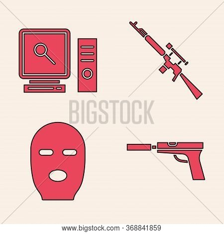 Set Pistol Or Gun With Silencer, Search On Computer Screen, Sniper Rifle With Scope And Thief Mask I