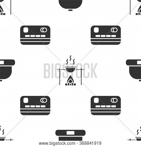 Set Beanie Hat, Campfire And Pot And Credit Card On Seamless Pattern. Vector.