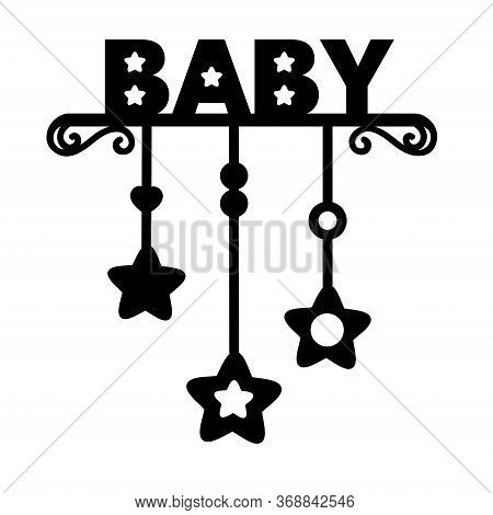 Word Baby. Child. Laser Cut Silhouette. Vector Lettering For Invitation, Baby Shower, Birthday Card,
