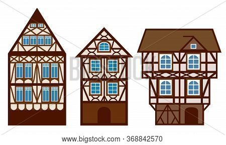 House Decorated In Style Half-timbered Framework. Silhouette Of Old European Mansions. Stylized Faca