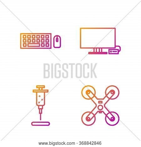 Set Line Drone Flying, Syringe, Keyboard And Mouse And Smart Tv. Gradient Color Icons. Vector.