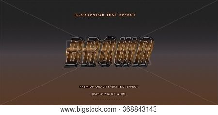 Editable Text Effect - Brown Illustrator Text Style