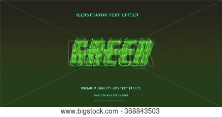 Editable Text Effect - Deep Green Illustrator Text Style