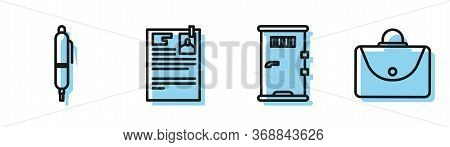 Set Line Prison Cell Door, Pen, Lawsuit Paper And Briefcase Icon. Vector.