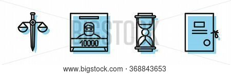 Set Line Old Hourglass With Sand, Scales Of Justice, Wanted Poster And Lawsuit Paper Icon. Vector.