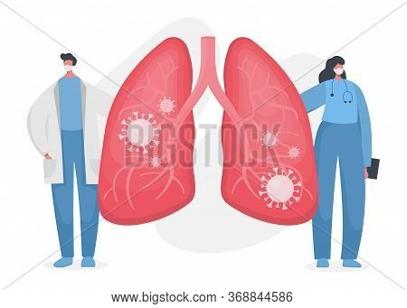 Flat Vector Illustration Of A Doctor And A Nurse Showing Infected Human Lungs With Coronavirus Insid
