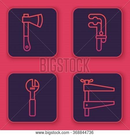 Set Line Wooden Axe, Adjustable Wrench, Clamp Tool And Clamp Tool. Blue Square Button. Vector.