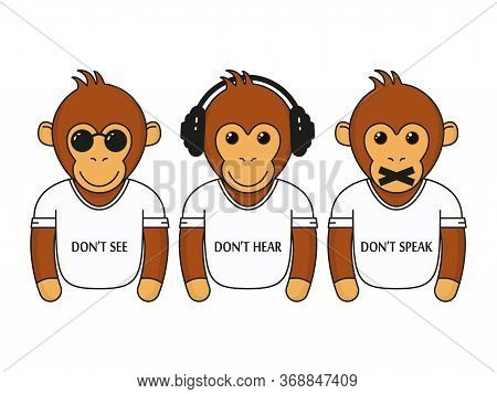 Three Wise Dressed Monkeys With Headphones, Glasses And Closed Mouth. Don't See, Don't Hear, Don't S
