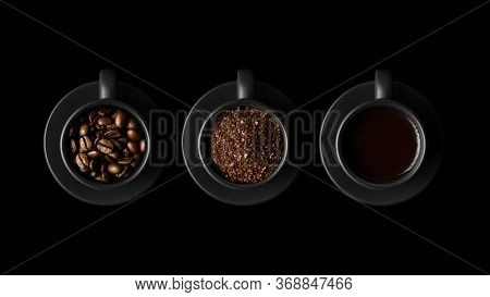 Three Black Cups With Coffee And Saucers On Black Background. One With Coffee Beans, The Second With