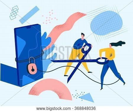 Digital Detox, Social Media Detox Modern Concept Illustration. Flat Vector Illustration In Trendy St