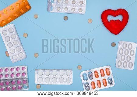 Antibiotic Resistance. Various Medications: Pills, Blister Pills, Medicines, Medications And Red Cop