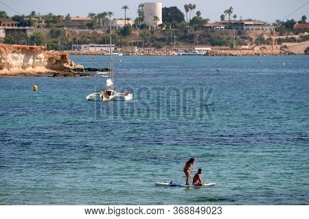 Orihuela, Costa Blanca, Spain - September 19, 2018:people Relax On The Costa Blanca In Orihuela Cost