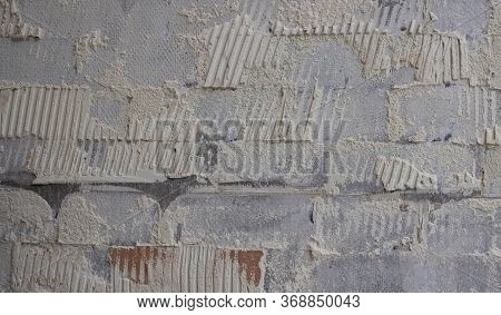 Old Tile Glue Or Cement . Broken Wall Tiles.wall Without Tiles.