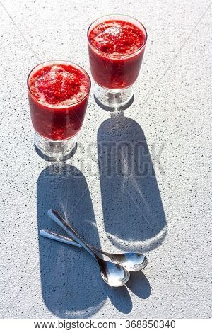 Glasses Of Traditional Italian Summer Dessert Strawberry Granita Or Sorbet On Background With Shadow