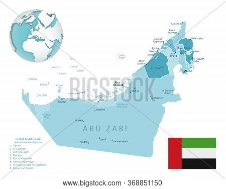 United Arab Emirates Administrative Blue-green Map With Country Flag And Location On A Globe.