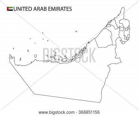 United Arab Emirates Map, Black And White Detailed Outline Regions Of The Country.