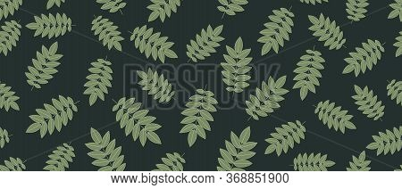 Green Leaves Seamless Background On Green Background. Vector Illustration.