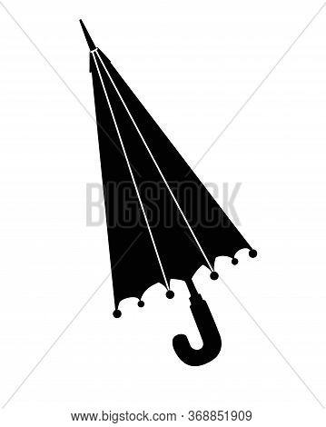 Closed Umbrella- Cane - Vector Black Silhouette For Logo Or Pictogram. Umbrella Cane - Sign Or Icon.