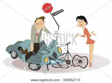 Road Accident, Driver, Cyclist And Broken Bike Illustration. Angry Woman Scolds And Asks The Upset D