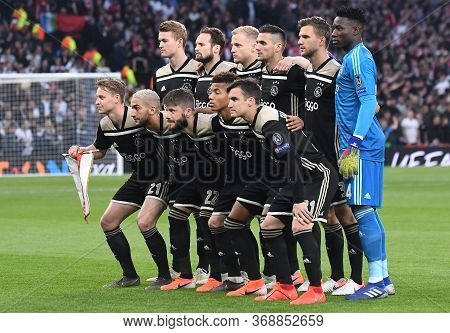 London, England - April 30, 2019: Ajax Starting Eleven Posing For Th Eofficial Group Photo Prior To